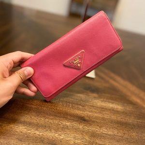 Prada Saffiano pink leather wallet purse
